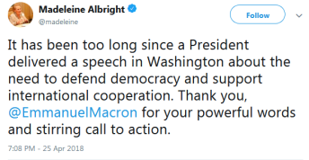 Screenshot-2018-4-27 Madeleine Albright on Twitter It has been too long since a President delivered a speech in Washington [...]